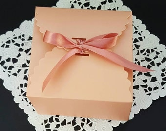 Favor box - pink favor box - set of 12 - flower edge box -pink birthday- first birthday- baby shower- candy box - 4.5 in x 4.5 in x 2.5 in