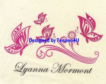 Girl Butterfly Name on Teepee(Top Front)