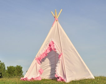 Ready to ship Doll Pink Teepee, Kids Play Tent, Childrens Play House, Tipi,Kids Room Decor
