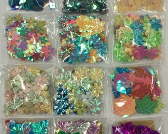 12 Packs Mixed Lots Sequins 4-Assorted Shape Sequins-Assorted Color Sequins-Assorted Size Sequins