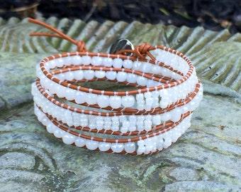 White Beaded Wrap Bracelet, Wrap Bracelet, Beaded Bracelet