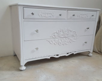 Vintage French Provincial White Dresser with Crystal Hardware - Beautiful Antique White Romantic Dresser