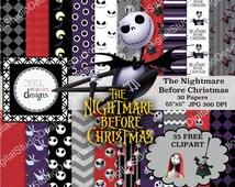 "Nightmare Before Christmas Digital Paper Pack- 30 Papers- 35 Clipart - 8.5""x11"" - Printable Paper - Digital Scrapbooking - Instant Download-"