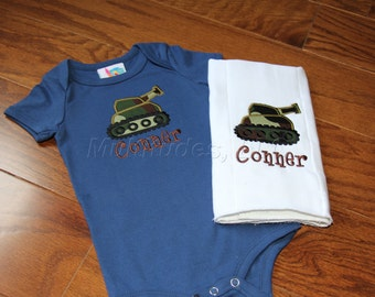 Tank Applique Onesie (burp cloth not included)