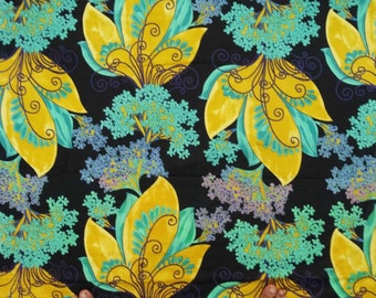"""Dress Making Black Color Pure Cotton Indian Designer Fabric Floral Printed Pattern 45"""" Wide Sewing Crafting Apparel Material By 1 Yd ZBC5467"""