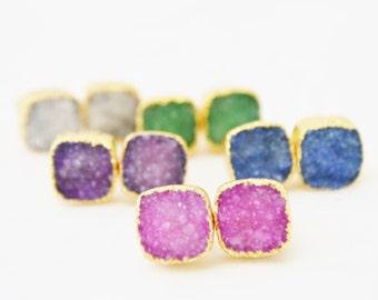 Purple Druzy Stud Earrings, Stud Earrings, Square Stud Earrings, Gold Stud Earrings, Crystal Earrings, Square Druzy Stud Earrings