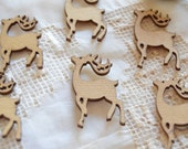 Set of Five Deer Wood Stickers -- Woodland Animal Laser Cut -- Scrapbooking Supplies
