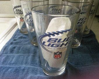 Vintage Set of Six Bud Light NFL Glasses - Bud Light Pint Glasses - Pint Glasses