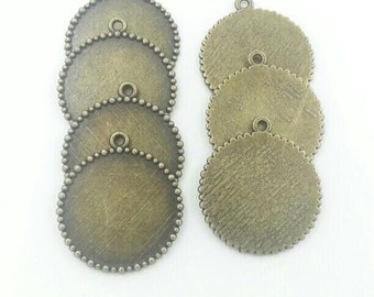25mm Round Cabochon Pendant Setting Antique Bronze Alloy Pendants Charms Jewelry Findings 10pcs T623