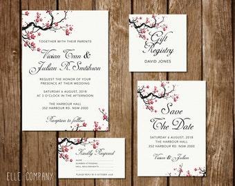 Printable Wedding Invitation Suite - Oriental Cherry Blossoms