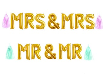 """Mrs & Mrs Balloon Banner Garland with Tassels, Mrs and Mrs Banner 14"""" Balloons, Gold and Silver Wedding Balloons"""