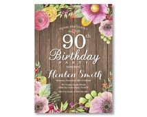 90th Birthday Invitation. Rustic Birthday Invitation for Women. Watercolor Floral Flower. Pink Purple Yellow. Any Age. Printable Digital.