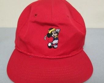 Mickey Mouse Golf Red Hat Cap Walt Disney Company Texace