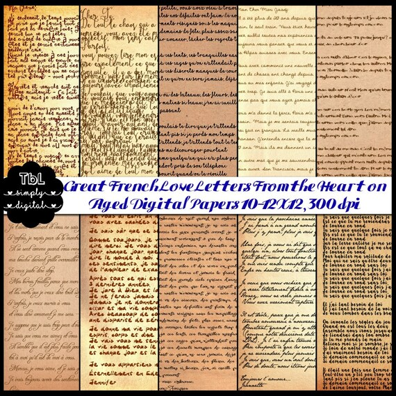 French Love Letters On Aged Vintage Digital By