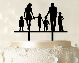 Wedding Cake Topper Bride And Groom With Kids Family