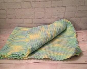 Crochet Baby Blanket, Baby Blanket, Baby Afgan, Baby Shower Gift, Green, Blue Yellow Ombre Baby Blanket