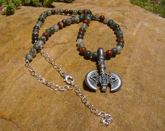 Bloodstone Axe Necklace