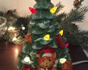 Vintage Brinns Ceramic Lite Up Christmas TREE~Presents Teddy Bear