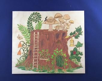 Tree Stump House; Hand Painted Wall Decor