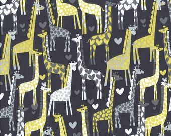 Giraffe Love Gray by Michael Miller - Yellow - Quilting Cotton Fabric - by the yard fat quarter half