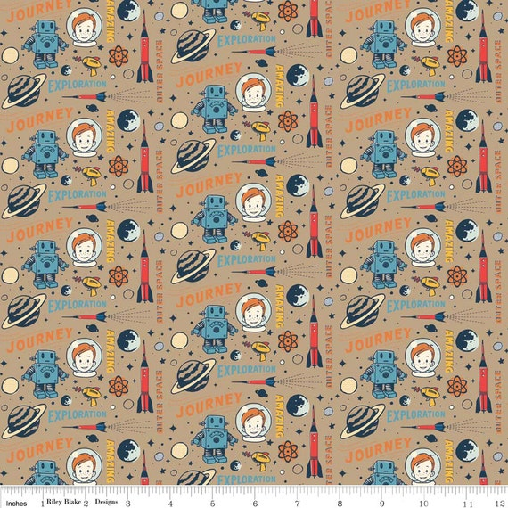 Rocket age captain brown by riley blake designs space for Space flannel fabric