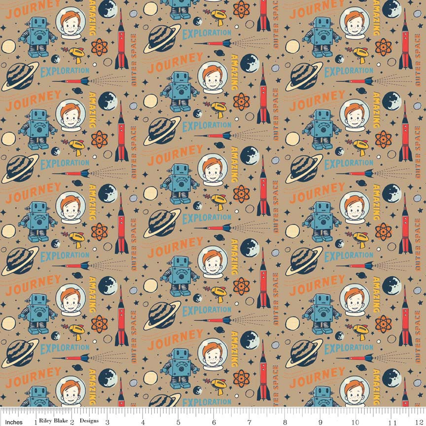 Rocket age captain brown by riley blake designs space for Outer space fabric by the yard