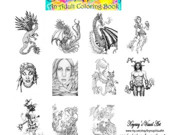 "Adult Coloring Book- Digital version of ""Color A Fantasy"" vol 1. Increase your creativity and escape the pressures of the ""real"" world!"