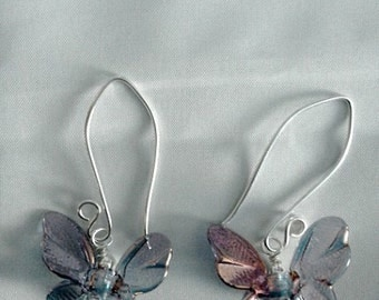 Shimmering Iridescent Glass and Sterling  Silver Butterfly Earrings