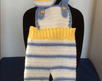 Crochet Baby boy jumper/overall and hat for Spring/Easter