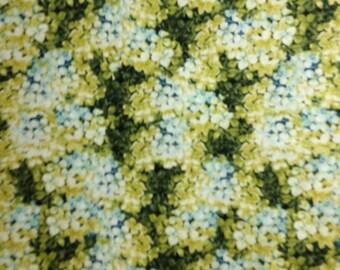ON SALE:  Yellow/Blue Hydrangeas, Marche de Fleurs by Lisa Audit for Wilmington Prints, 100% Cotton