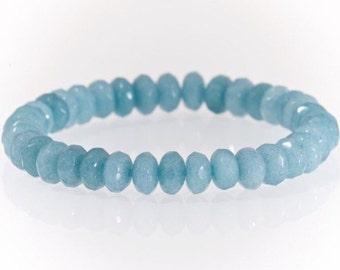Handmade Semi precious gemstone Aquamarine 5x8mm bracelet