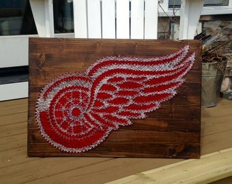 Custom Handcrafted String Art Detroit Red Wings Symbol Wooden Piece