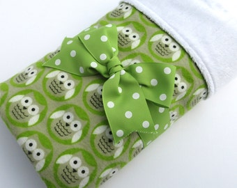 Baby Stroller Blanket - Owl Baby Blanket - Gender Neutral Baby Blanket - Green and Gray Owl Print - Cotton Flannel Blanket - White Minky