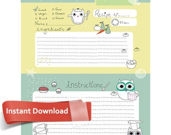 Cute Owl Cooking Recipe Page PSD File, Instant Download, Printable PDF