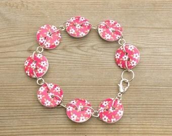Button bracelet, pink flower button bracelet, button jewelry, flower buttons