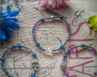 Stretch bracelet Stackable bracelet Czech crystals Blue bracelet Purple bracelet Beaded jewelry