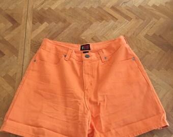 vintage high waisted orange shorts 27 inch waist