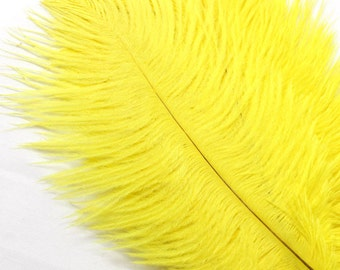5-7 Inch Yellow Ostrich Feathers. (5) Yellow Feather for Wedding Decor. Feather for Head Piece. Fascinator Feathers. Ostrich Hat Feathers.