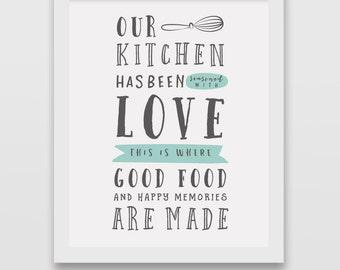 Printable kitchen wall art, kitchen wall decor, typography kitchen quote wall art, restaurant print, retro kitchen print, thanksgiving print