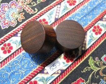 22mm Handmade Wooden Pau Santo 'Brazilian Blackheart' Ear Plugs Pair - Easy Care ( Overall size 23.6mm )