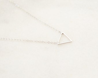 Silver Triangle necklace - Layering Necklace - Delicate Charm necklace - Minimalist and Dainty Necklace
