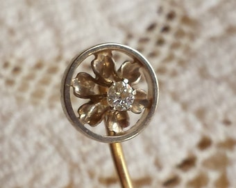 Vintage Diamond 14k Flower Stick Pin