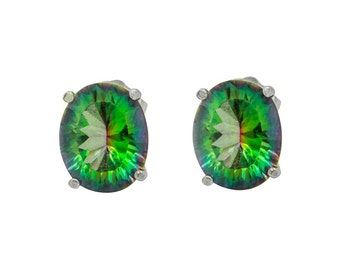Magic Green Quartz Oval Stud earrings
