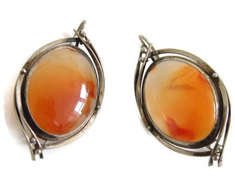 Statement carnelian agate earrings, vintage natural very large translucent carnelian agate in silver tone metal