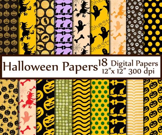 Halloween Digital Paper Pack Halloween Papers Halloween Scrapbook