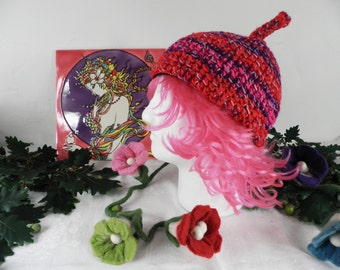 Red and Pink Pixie Hat  Size M  Hand Made Crochet Adult