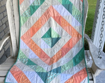 Coral and Green, Teal Baby Quilt, Crib Quilt, Baby Blanket, Toddler Quilt