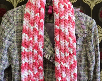 Pink candy cane scarf, hand crocheted.