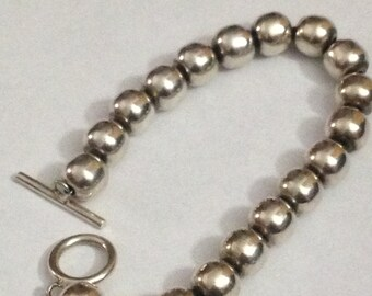 Large 8 inch long sterling silver 10 mm ball bracelet 34 grams weight