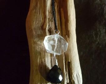 Rock Crystal Necklace Quartz Black Onyx Briolette